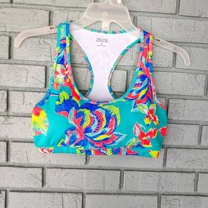 Zelos colorful floral sports bra small